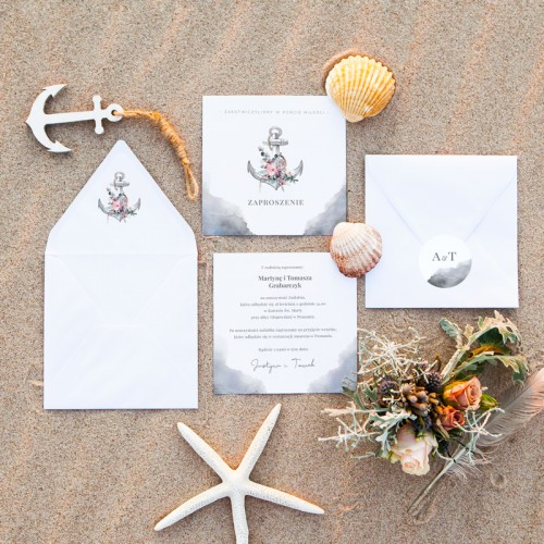 ZAPROSZENIE ślubne W Porcie Miłości (+koperta z wnętrzem+naklejka)