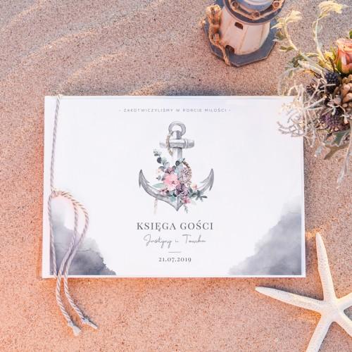 KSIĘGA GOŚCI weselnych z imionami W Porcie Miłości (+sznurek morski)