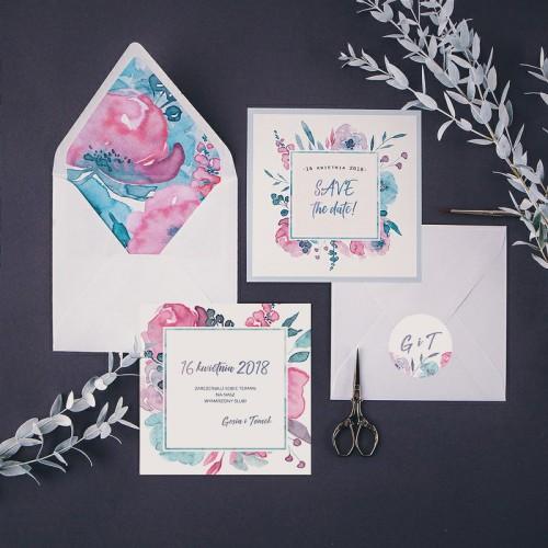 SAVE THE DATE Pink&Grey (+koperta z wnętrzem+naklejka)