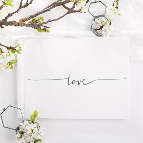 KSIĘGA GOŚCI weselnych z napisem Love SREBRNA OSTATNIA SZTUKA