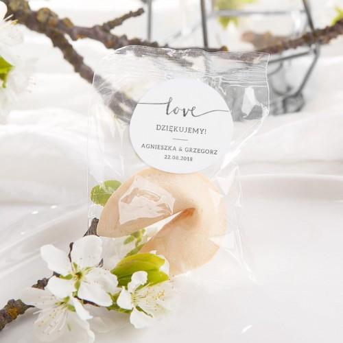 CIASTECZKO z wróżbą Love SREBRNE (+etykieta z imieniem)
