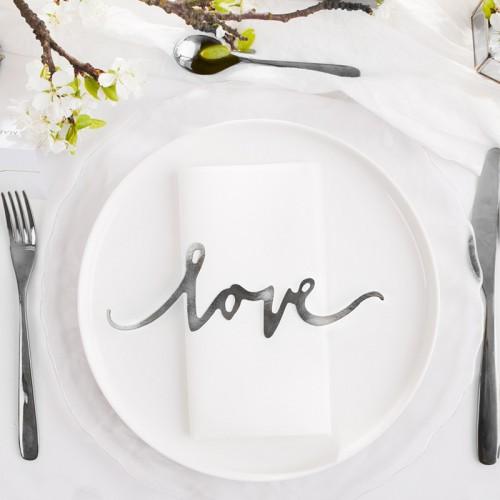 NAPISY dekoracyjne LOVE 6szt SREBRNE