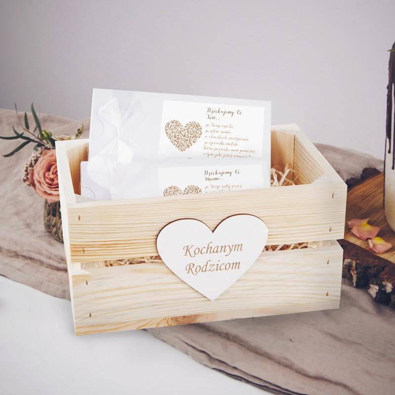 PODZIĘKOWANIE dla Rodziców zestaw czekoladowników w skrzyni Czekoladowe LOVE