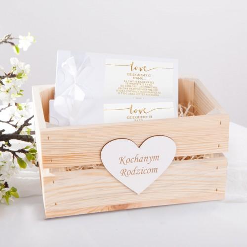 PODZIĘKOWANIE dla Rodziców zestaw czekoladowników w skrzyni Love