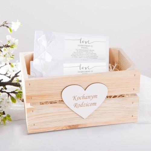 PODZIĘKOWANIE dla Rodziców zestaw czekoladowników w skrzyni Love SREBRNE