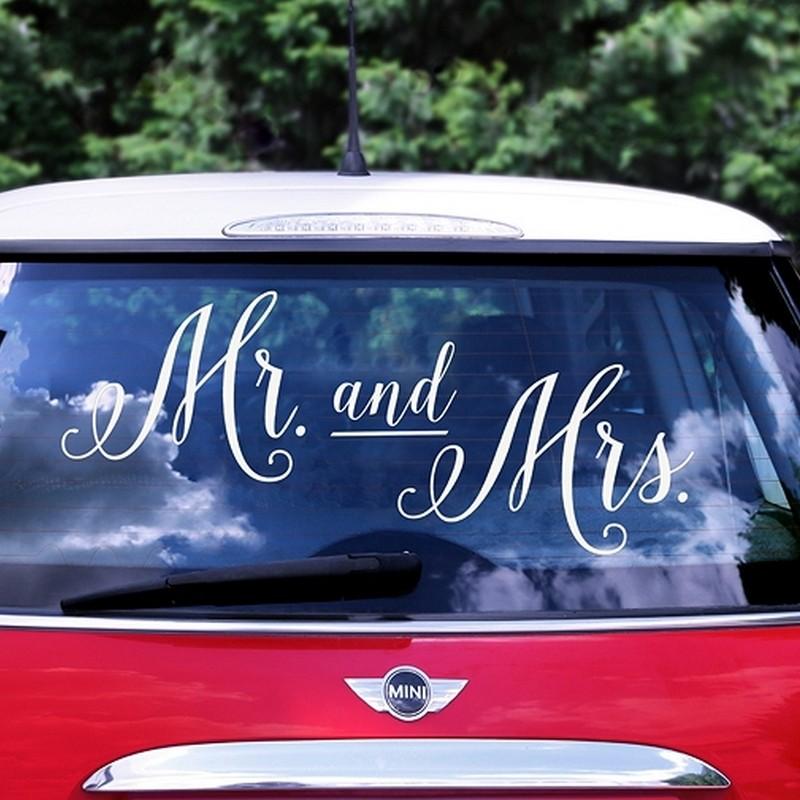 NAKLEJKA na samochód ślubny Mr&Mrs