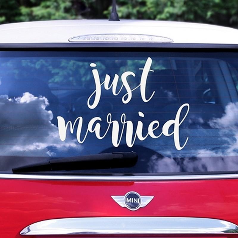 NAKLEJKA na samochód ślubny Just Married
