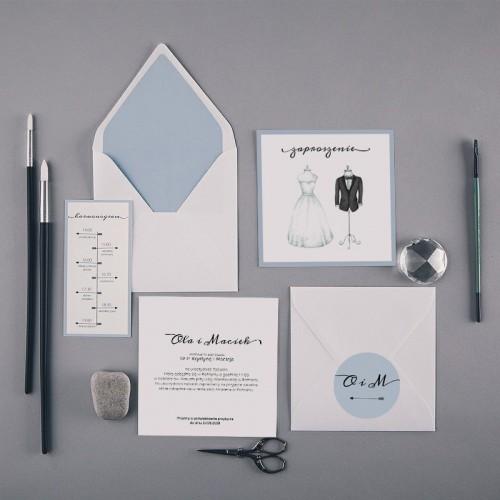 ZAPROSZENIE ślubne Bride&Groom (+koperta z wnętrzem+naklejka+harmonogram)