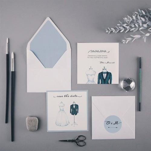 SAVE THE DATE Bride&Groom (+koperta z wnętrzem+naklejka)