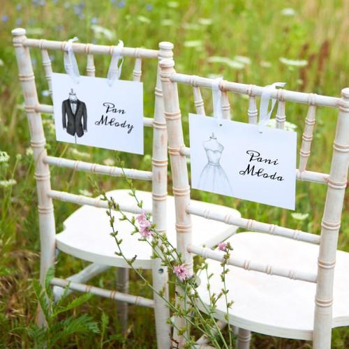 TABLICZKI na krzesła Pan i Pani Młoda Bride&Groom (+tasiemka)