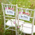 TABLICZKI na krzesła Pan i Pani Młoda Flowers&Stripes (+tasiemka)