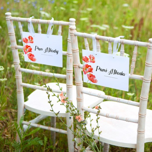 TABLICZKI na krzesła Pan i Pani Młoda Kwiaty Lata (+tasiemka)