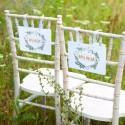 TABLICZKI na krzesła Pan i Pani Młoda Liście Paproci (+tasiemka)