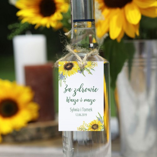 ZAWIESZKA na alkohol personalizowana Akwarelowe Słoneczniki