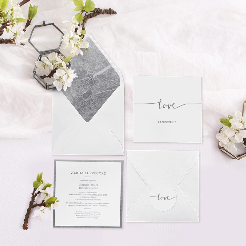 ZAPROSZENIE ślubne Kolekcja Love SREBRNE (+koperta z wnętrzem+naklejka)