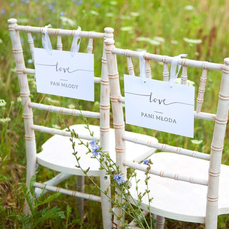 TABLICZKI na krzesła Pan i Pani Młoda Love SREBRNE (+tasiemka)