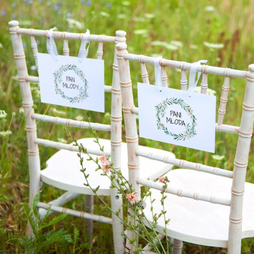 TABLICZKI na krzesła Pan i Pani Młoda Natural Green (+tasiemka)