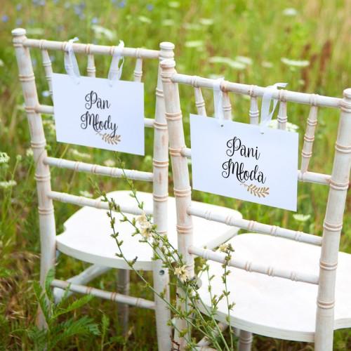 TABLICZKI na krzesła Pan i Pani Młoda Rustic Leaf (+tasiemka)