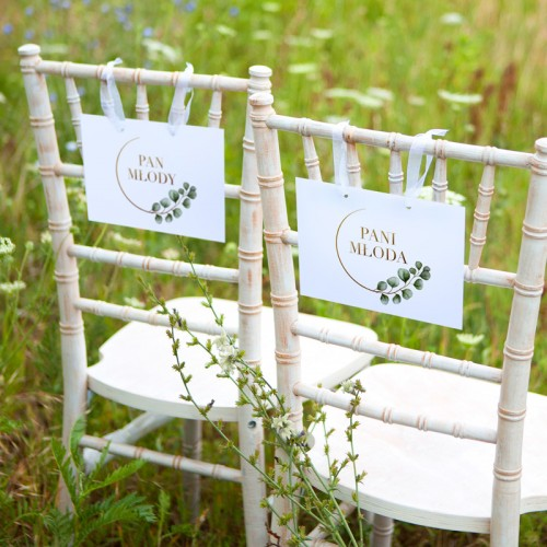 TABLICZKI na krzesła Pan i Pani Młoda Eukaliptus (+tasiemka)