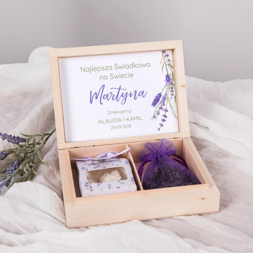 PREZENT dla Świadkowej w drewnianym pudełku Kolekcja Lawenda