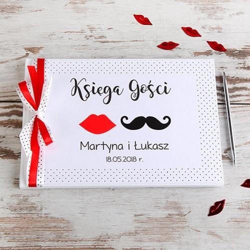 KSIĘGA GOŚCI weselnych z imionami Usta Wąsy (+wstążka biała w kropki+czerwona)