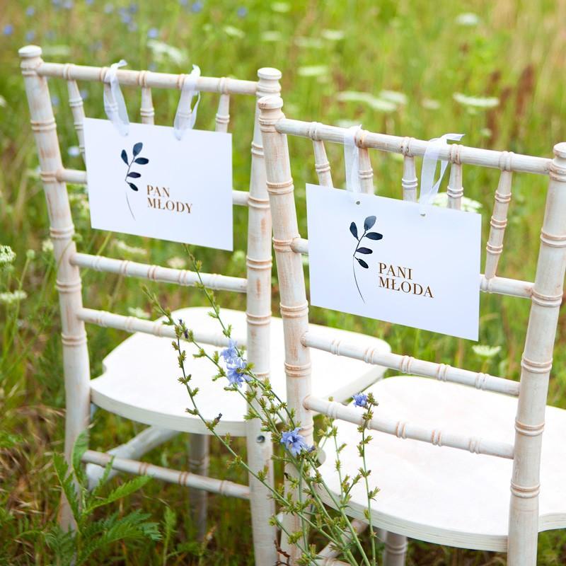 TABLICZKI na krzesła Pan i Pani Młoda Rustykalna (+tasiemka)