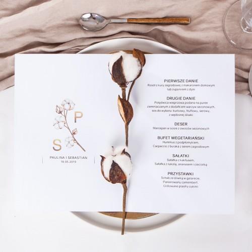 MENU weselne otwierane Kwiaty Bawełny