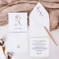 ZAPROSZENIE ślubne Kwiaty Bawełny (+koperta z wnętrzem+naklejka)