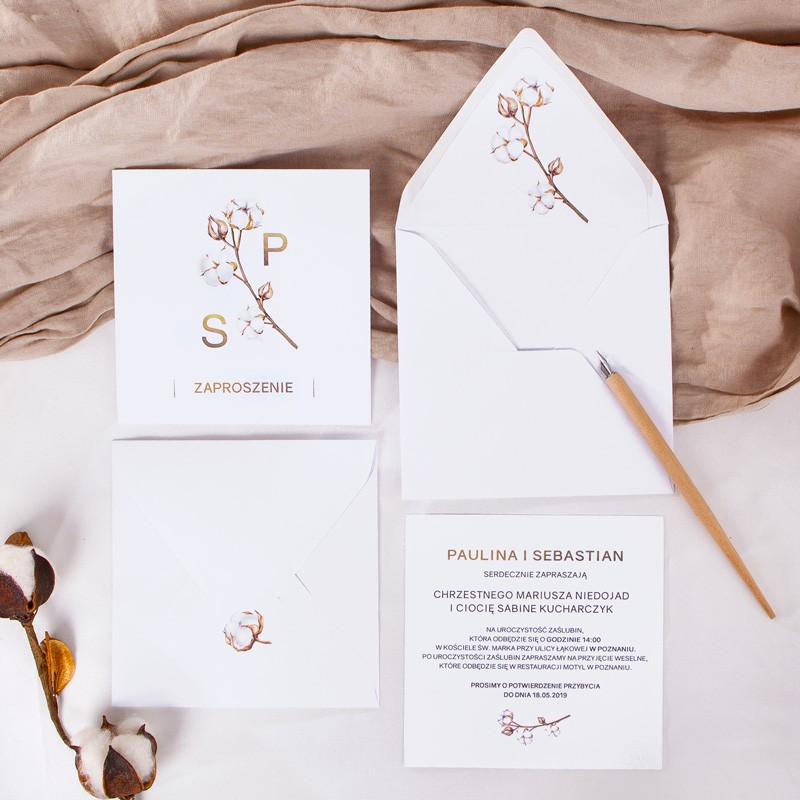 Zaproszenie ślubne Kwiaty Bawełny Koperta Z Wnętrzemnaklejka