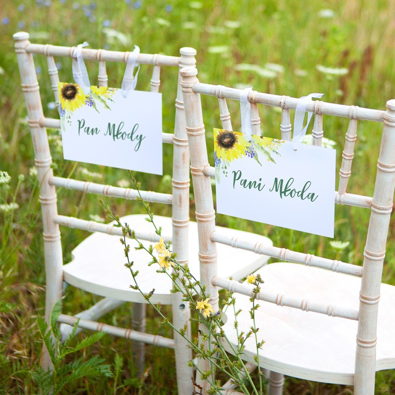TABLICZKI na krzesła Pan i Pani Młoda Akwarelowe Słoneczniki (+tasiemka)