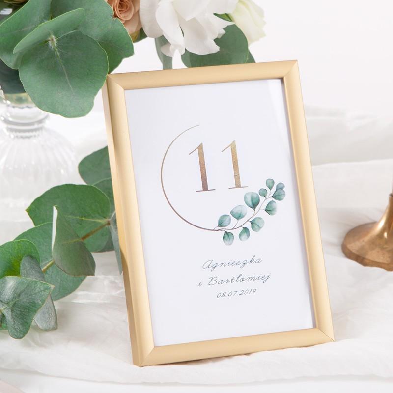 NUMEREK na stół wesele z imionami Eukaliptus