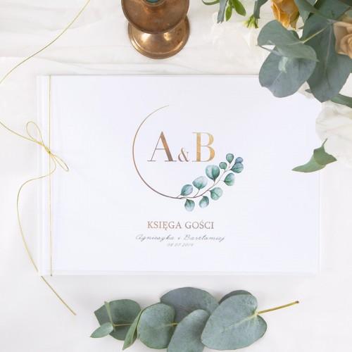 KSIĘGA GOŚCI weselnych z imionami Eukaliptus (+sznureczek złoty)