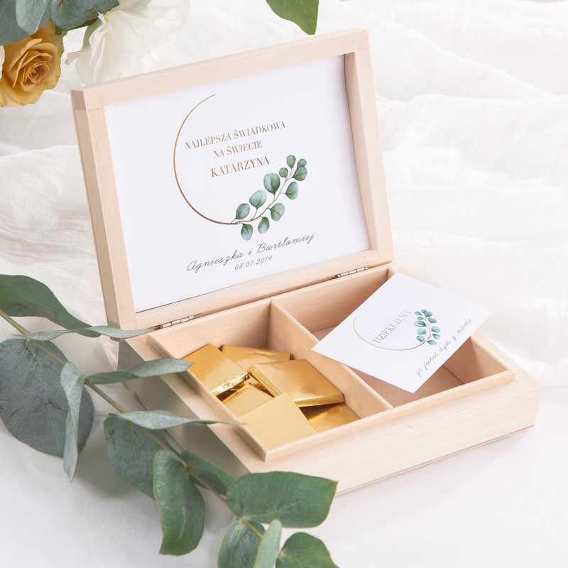 PODZIĘKOWANIE dla Świadkowej w drewnianym pudełku Eukaliptus