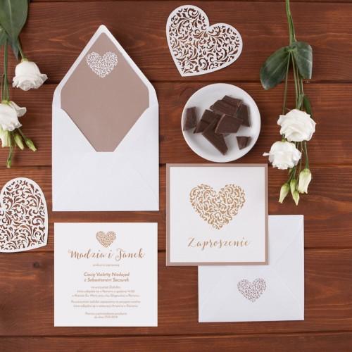 ZAPROSZENIE ślubne Czekoladowe Love (+koperta z wnętrzem+naklejka)