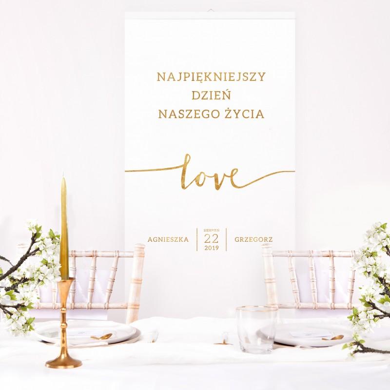 ŚCIANKA za Parą Młodą baner + listwa 60x150cm Kolekcja Love