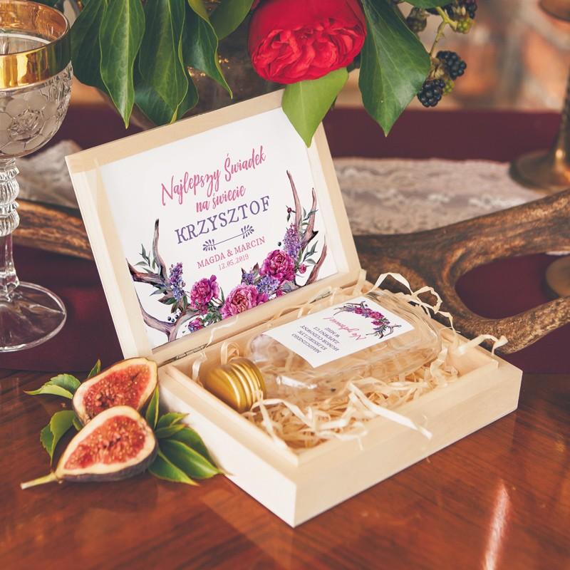 PODZIĘKOWANIE dla Świadka w drewnianym pudełku KACÓWKA Kwiaty Boho