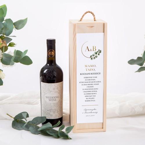 SKRZYNIA na alkohol drewniana Z IMIONAMI Eukaliptus
