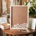 KSIĘGA GOŚCI weselnych drewniana w ramce 40x50cm (+50serc+kuferek) Z IMIONAMI