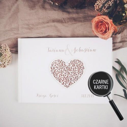 KSIĘGA GOŚCI czarne kartki fotobudka Z IMIONAMI Czekoladowe LOVE