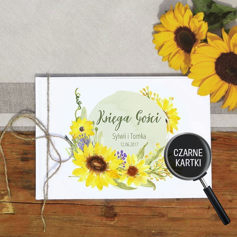 KSIĘGA GOŚCI personalizowana z czarnymi kartkami Akwarelowe Słoneczniki