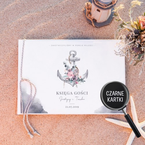 KSIĘGA GOŚCI czarne kartki fotobudka Z IMIONAMI W Porcie Miłości (+sznurek morski)