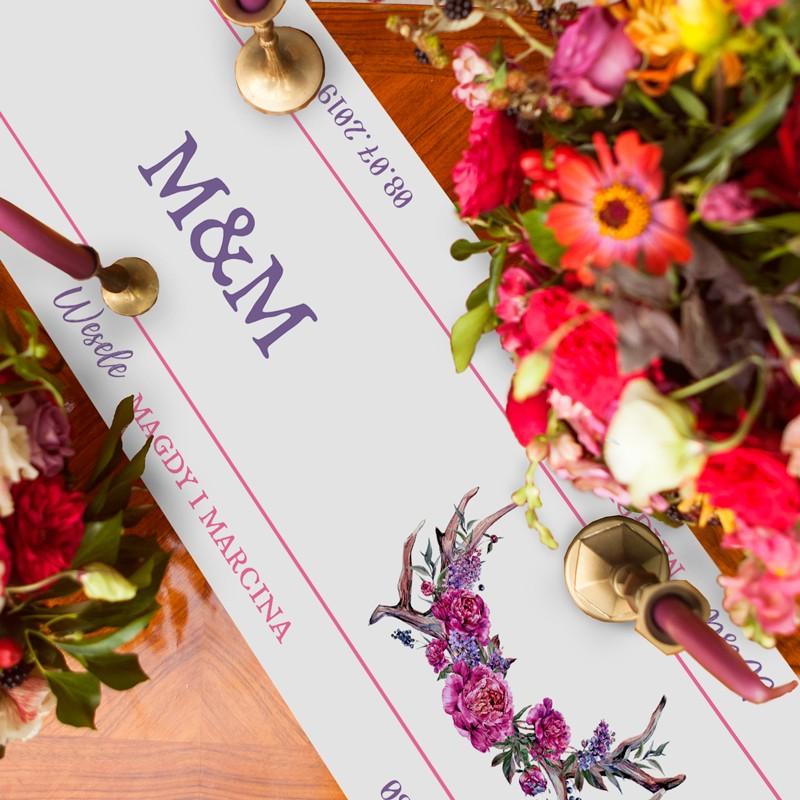BIEŻNIK Z IMIONAMI Pary Młodej Kwiaty Boho 42cmx5m