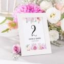 NUMEREK na stół wesele z imionami Liliowe Love