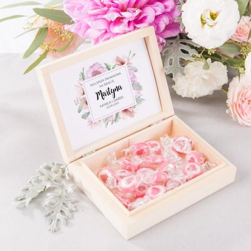 PODZIĘKOWANIE dla Świadkowej w drewnianym pudełku Liliowe Love