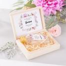PODZIĘKOWANIE dla Świadka w drewnianym pudełku KACÓWKA Liliowe Love