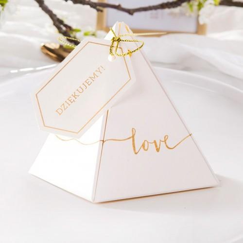 PUDEŁECZKA podziękowanie piramidki Love (+bileciki personalizowane) 10szt
