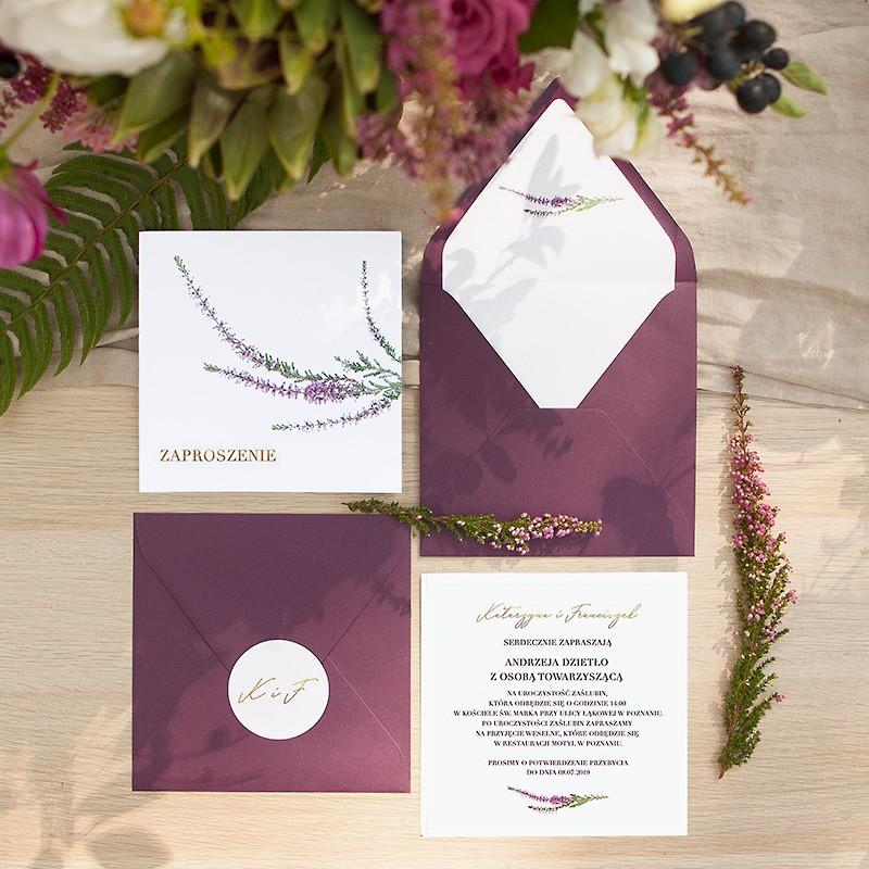 ZAPROSZENIE ślubne Jesienne Wrzosy (+koperta z wnętrzem+naklejka)