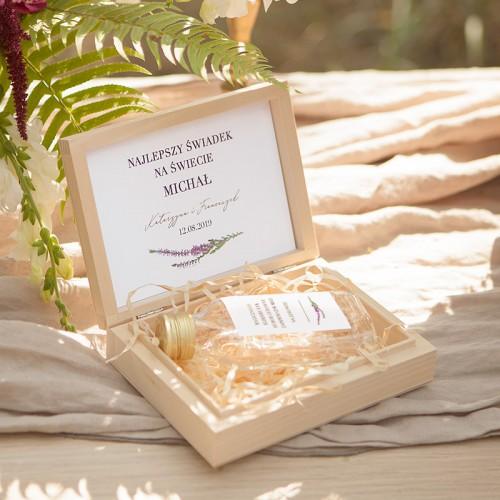 PODZIĘKOWANIE dla Świadka w drewnianym pudełku KACÓWKA Jesienne Wrzosy