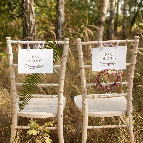 TABLICZKI na krzesła Pan i Pani Młoda Jesienne Wrzosy (+tasiemka)