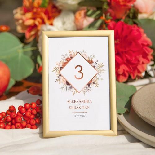 NUMEREK na stół wesele z imionami Kolekcja Miedziana
